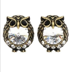 Green mini cute owl crystal earrings
